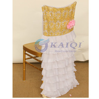 Beaded embroidery sequin/  chiffon  Fancy chair back cover