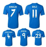 13-14 UEFA Champions League Real Madrid away blue soccer jersey Top Thai version T-shirt UCL + Respect +9 Cup BALE #11