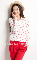 Wholesale 2013 New Red Lips Printed Chiffon White & Black Blouse Casual Shirt For Women's T Shirts Long Shirt S5