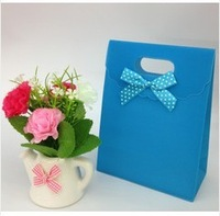 12 PCS Sky blue pure color bowknot clamshell bag 16.5 * 12.5 * 6 cm gift bags cosmetics packaging