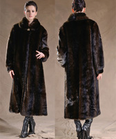 Free shipping Winter  mink fur marten velvet outerwear  fur overcoat plus size ultra long mink hair winter clothes