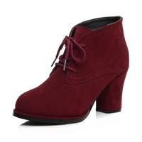 Genuine leather boots nubuck leather boots fashion front strap Wine red high-heeled boots thick heel martin boots female