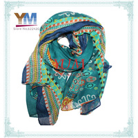 Fashion 2013 newest green color Long Voile Tribal Aztec Scarf accessories for women wholesale