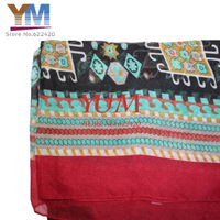 Fashion 2013 newest Aztec women Scarf Long Voile Tribal Aztec Scarf accessories red color wholesale
