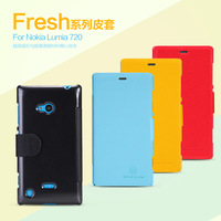 Free shipping Nillkin fresh series side flip leather case for Nokia Lumia 720