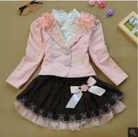 1set hot  2014 New Free shipping girl 3pcs clothing set Suit sets  +lace shirt +bow tutu skirt children dress suits