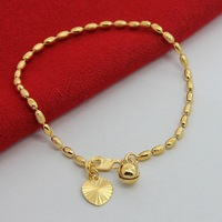 24K Bracelet Bracelet for Women or girl ,2.5mm ball chain charm bracelets with