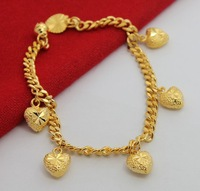 24K Bracelet / Five Heart pendant wholesale jewelry for Womens chains bracelet gold chains wholesale jewelry