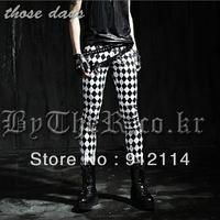 2014 new England style super Unique checkerboard pants for men casual slim black white grid Pencil pants for men ,K230,M-XXL