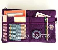 COSMETIC MAKEUP BAG SLIM INNER BAG IN BAG FOR HANDBAG SHOULDER BAG PURSE PURPLE