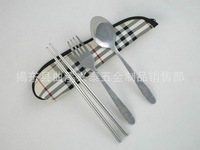 Free shipping stainless steel cutlery spoon fork chopsticks, plaid, Scotland canvas tableware, portable tableware Parure