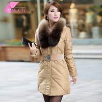 2013 winter large fur collar slim medium-long women's down coat outerwear