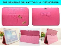 "Newest Fashion cute hello kitty Cover case KT stand cover smart case for Samsung Galaxy Tab 3 10.1"" tablet tab3 P5200 P5210"