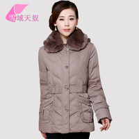 2013 winter quinquagenarian down coat female plus size thickening large fur collar down