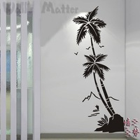 Beach coconut trees waterproof vinyl decal stickers hall bathroom glass modern art mural decorative stickers free shipping