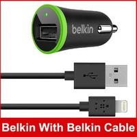 20pcs/lot, MOQ: New Mini Belkin Car Charger F8J078 10W/2.1A W/ Belkin Cable For iPhone 5 5S 5C iPad 4 Mini iPod IOS 7 New