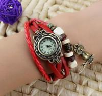 Free shipping New Fashion Women OWL Genuine Leather Vintage Watch bracelet Wristwatches butterfly starfish