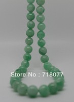 Free shipping! New Natural green jade necklace woman 8.5mm Round bead Necklace Length 18.30""