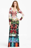 2013 Famous brand Elasticity dress new fashion , sexy colorful print, deep V-Neck sheath long sleeve ankle-length dress