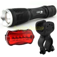 Bike Bicycle Light 1800 Lumens CREE XM-L XML T6 LED Flashlight Torch + Mount Holder + Warning Rear Flash Light