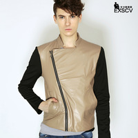 Mr . kt2013 slim motorcycle leather clothing male patchwork men's clothing short design PU male leather jacket outerwear