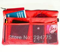 COSMETIC RED STORAGE BAGS SLIM BAG IN BAG INSERT POUCH SHOULDER HANDBAG ORGANIZER TOTE