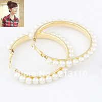Fashion Gold Plating Imitation Pearl Hoop Earring Jewelry For Women