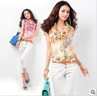 2014 women's summer ruffle collar flower print short-sleeve chiffon shirt all-match shirt female top blouses S, M, L, XL