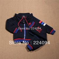 FREE SHIPPING 2014 New children clothing Hooded suit  kids 100%cotton set coat+pants 2 pcs autumn kid's  suit 2-7yrs
