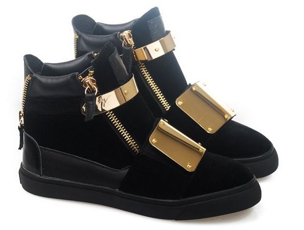 Homens marca Frete grátis moda GZ sapatilhas de metal genuíno sapatos de couro de ouro alto-top mulheres sapatos casuais esportivos Tamanho Flat 38-45(China (Mainland))