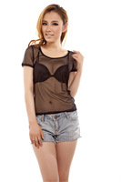 The new  the low collar bottoming shirt round neck short sleeve mesh lace chiffon dress sexy nightclub loaded sunscreen