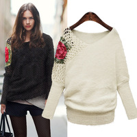 Free shipping European and American women's 2013 winter new high elastic flower embroidery wool trade bat sleeve sweater L0393
