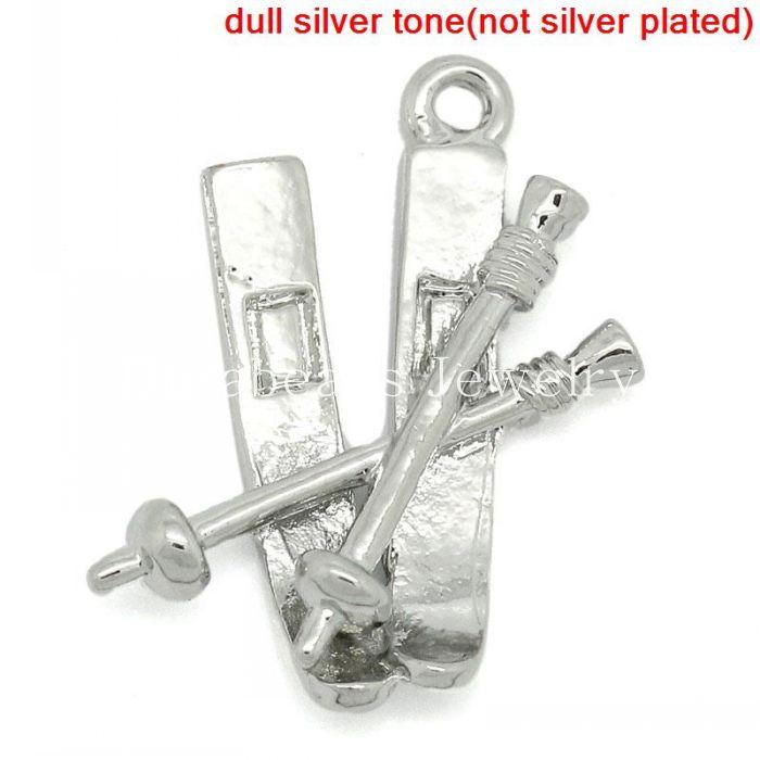 Charm Pendants Snow Sport Ski Pole Silver Tone 23x18mm,20PCs (B27529)(China (Mainland))