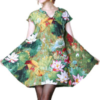 New BOHEMIA loose plus size dresses xxl wmen's dresses Chinese landscape painting lotus fashion linen elegant dress YQ05018