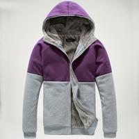 Newst Autumn/winter men's patchwork Hoodies warm plush lining overcoats men's sport sweatshirts S-3XL Zipper outwear
