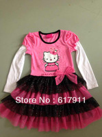 Wholesale lot kids clothes girl party dress girls clothes baby dress christmas hello kitty tutu girls princess dress Long Sleeve