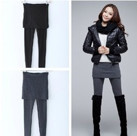 Autumn and winter faux two piece set basic skirt pants plus velvet thickening slim thermal slim hip skirt pants boot cut jeans