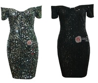 Free shipping  BODYCON sequined collar fashion dress.party dress TB 5841