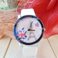 Hot sale! New Listing Eiffel Tower Supply Fashion Woman Leather Quartz Watch AFPG-2234