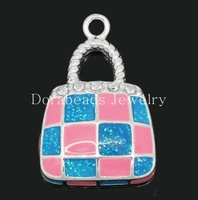 "Charm Pendants Handbag Silver Plated Clear Rhinestone Enamel Blue&Pink 26mm x 17mm(1""x 5/8""),5PCs (B28772)"