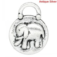 Charm Pendants Round Antique Silver Elephant Carved 19x15mm,30PCs (K03369)
