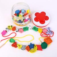 Free shipping Wooden fruit animal shape bead toys child puzzle beads toy baby beads  Wholesale