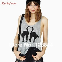 New 2013 T Shirt Women Crop Top V-Neck Sleeveless Cats Printing Arc Hem Loose Plus size Autumn-Summer Tank Free Shipping D264
