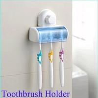 Home Bathroom Toothbrush SpinBrush Suction Holder Stand Rack Plastic Set 5 Bin