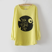 Y078 linen loose long-sleeve T-shirt fish print fluid t spirals  Free shipping