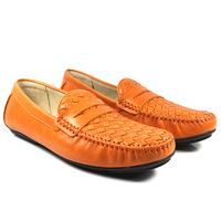 2014 spring autumn New fashion men's    foot wrapping  full  casual  boat  100% genuine leather  neon color single   shoes