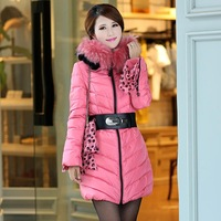2013 medium-long down coat luxury large fur collar lace slim hooded