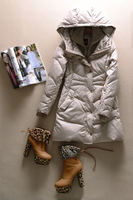 Yd199 winter elegant with a hood down coat outerwear grey duck down Women  Free shipping