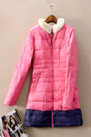 Fiv yd303 o c t fur collar grey duck down sweet female down coat  Free shipping