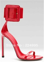 new fashion open toe sexy high heel sandals 2013 summer women ankle strap buckle red heels free shipping red white black yellow